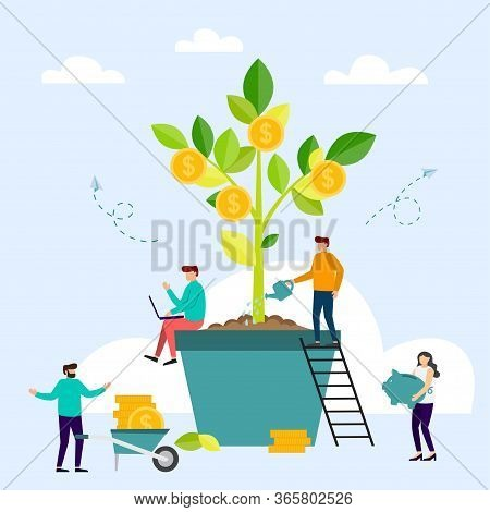 Money Tree, Company Income. Business People Grow Plant In Pot And Collecting Golden Coins. Successfu