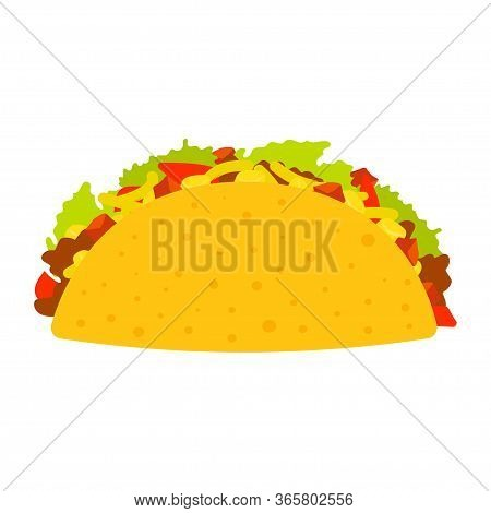 Tacos With Meat And Vegetable. Traditional Tacos Isolated On White Background. Taco Mexican Food Vec