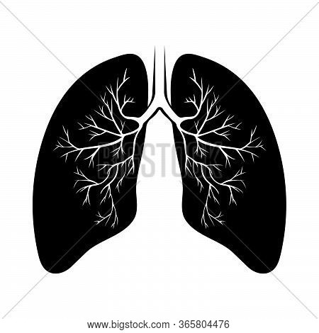 Human Black Lung Anatomy. Respiratory Tract Disease. Respiratory Systems. Vector Illustration