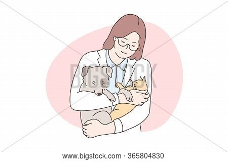 Medicine, Veterinary, Examination Concept. Young Happy Smiling Woman Or Girl Veterinarian Doctor Car