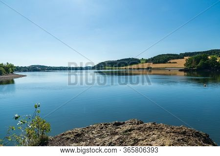 Talsperre Pirk Water Reservoir Between Oelsnitz And Plauen City In Germany Wuth Hilly Countryside Ar