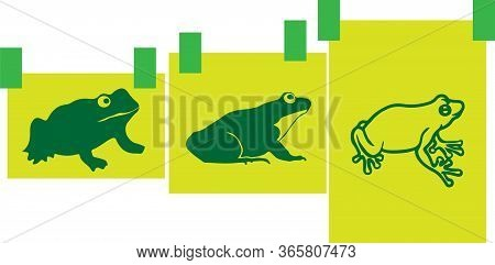 Little Frog Silhouette Illustration Vector , Slimy, Small, Symbol