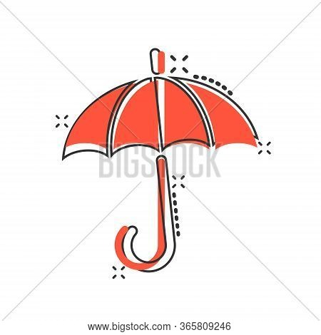 Umbrella Icon In Comic Style. Parasol Cartoon Vector Illustration On White Isolated Background. Cano