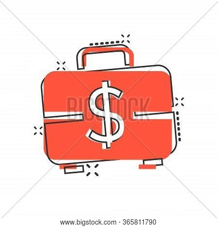 Money Briefcase Icon In Comic Style. Cash Box Cartoon Vector Illustration On White Isolated Backgrou
