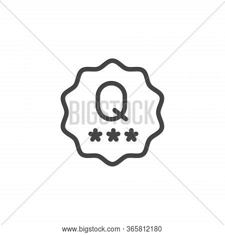 Quality Mark Line Icon. Verified Product Or Service With Good Reviews Concept. Label For Online Webs
