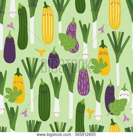Kawaii Cartoon Aubergine, Zucchini And Leek. Colored Seamless Vector Patterns In Flat Style. Isolate