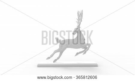 3d Rendering Of A Deer In Jump Flight Leap Wild Life Animal Isolated