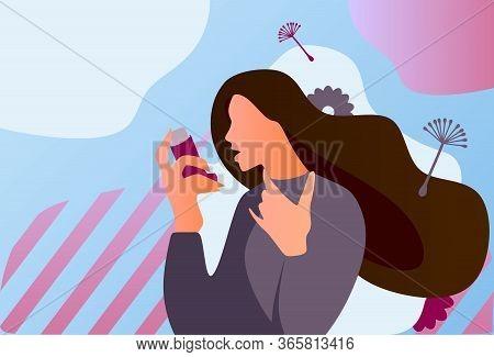 Asthma Inhaler Help Allergic Woman. World Asthma Day. Allergy, Asthmatic. Inhalation Medicine. Flat