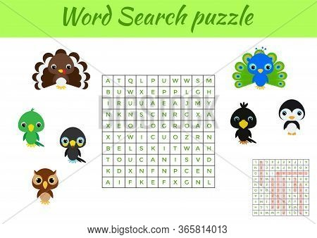 Clip Cards Game Template Word Search Puzzle. Kids Activity Worksheet Colorful Printable Version. Edu