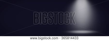 Abstract Dark Blue Background With A Gradient And Emulation Of Light From A Lantern. Can Be Used For