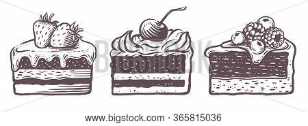 Sweet Cakes Slices Pieces Isolated On White Background. Set Of Cakes.