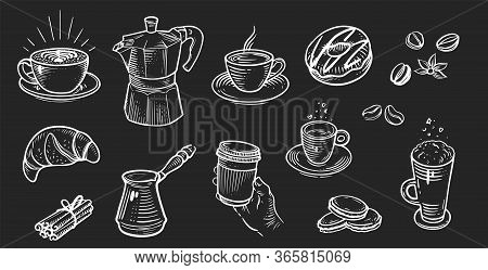 Set Of Coffee In Retro Style Drawing With Chalk On Chalkboard Background.