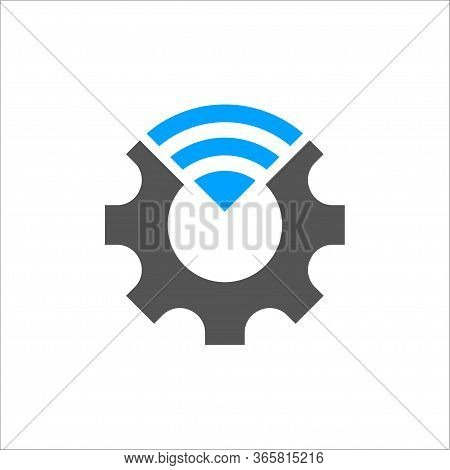Industry 4.0 Vector Illustration. Cogwheel And Blue Conection Icon. Manufacturing Technology Revolut