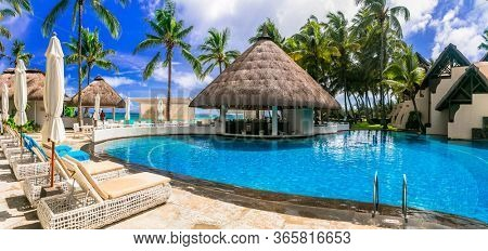 luxury 5 star resort territory with swimming pool and hotel rooms - Constance Belle Mare Plage. Mauritius island. Pointe de flacq , Belle Mare. February 2020