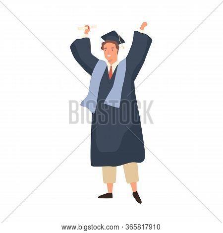 Happy Student Guy Celebrating Graduation Holding Diploma Vector Flat Illustration. Smiling Academic