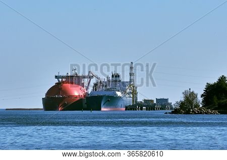 Lng Tanker And Carrier As Floating Lng Storageand Import Terminal In Port. Alternative Gas Supply, C