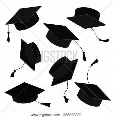 Graduate Caps In The Air. Vector Cartoon Illustration Of Grad Hats In Different Positions Isolated O
