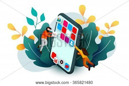 Modern Banner Template With Tiny People And Giant Smartphone. Mobile App Design. User Interface Deve