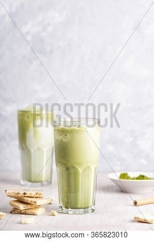 Glasses Of Matcha Latte With Coconut Milk And White Chocolate