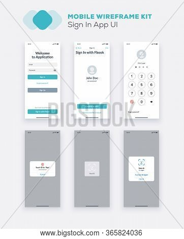 Wireframe Ui Kit For Smartphone. Mobile App Ux Design. New Os Sign In, Enter, Form, Input Fields, So