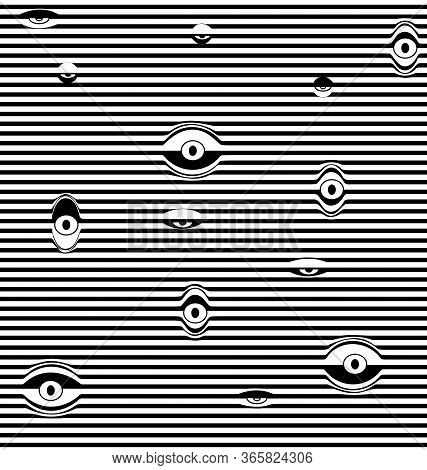 Black And White Vector Illustration Abstract Lines With Eyes