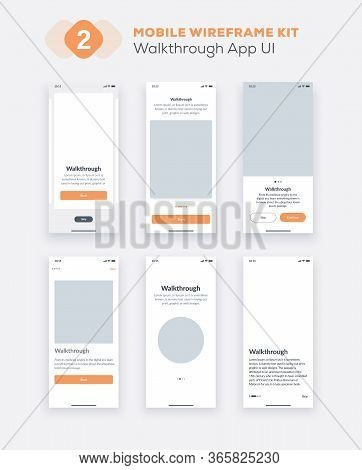 Wireframe Ui Kit For Smartphone. Mobile App Ux Design. New Os Walkthrough And Start Application Scre