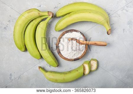 Banana Flour. Raw And Dried Green Bananas, Plantain Flour, Resistant Flour, Prebiotic Food, Gut Heal