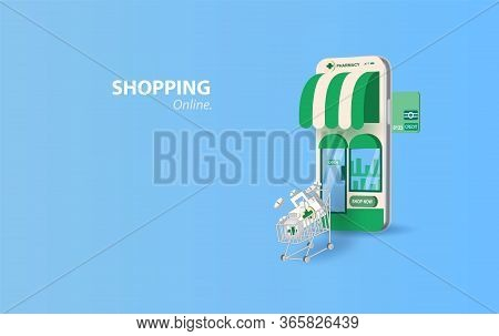 Drugstore Online.pills Buy Online With The Smartphone Concept. Healthcare Online Pharmacy Device Scr