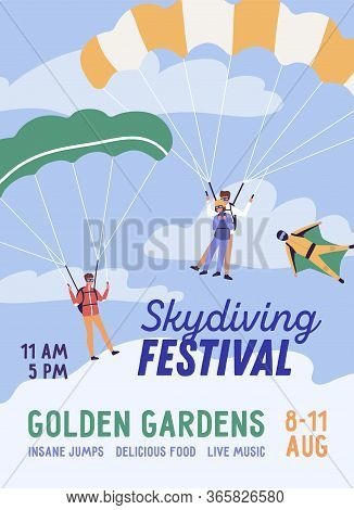 Promo Skydiving Festival Poster Vector Flat Illustration. Colorful Parachutists And Skydivers Perfor