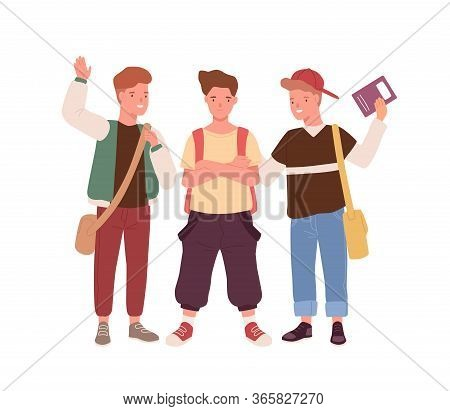 Happy Teenager Male Kids With Backpack, Bags And Book Stand Together Vector Flat Illustration. Group