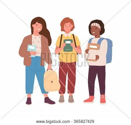 Group Of Adorable Diverse Classmates Girls Standing Together Vector Flat Illustration. Happy Female