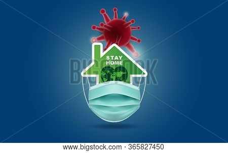 Stay Home.eco Environment Stay Safe With Home Icon Against Virus.protective Mask My World Concept Of