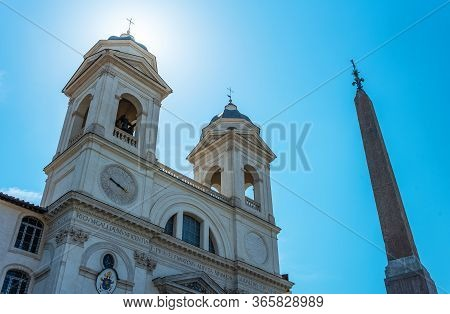 Italy, Rome, Upward View In Backlight Of The Facade And Bell Towers Of  Trinità Dei Monti Church