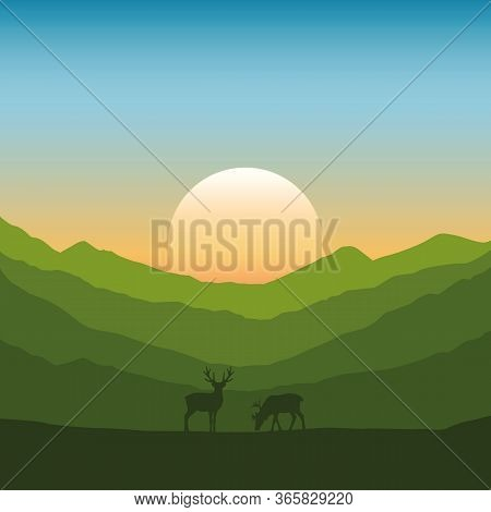 Wildlife Deer On Autumn Mountain Landscape At Sunset Vector Illustration Eps10