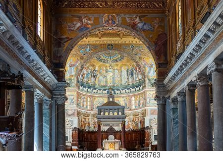 Rome, Italy - June 18, 2019:  The Nave Of The Basilica Of Santa Maria In Trastevere