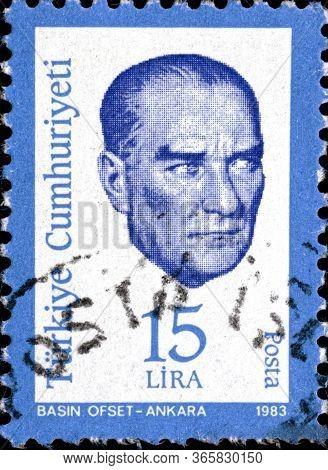 02.11.2020 Divnoe Stavropol Territory Russia The Postage Stamp Turkey 1983 Kemal Ataturk Portrait