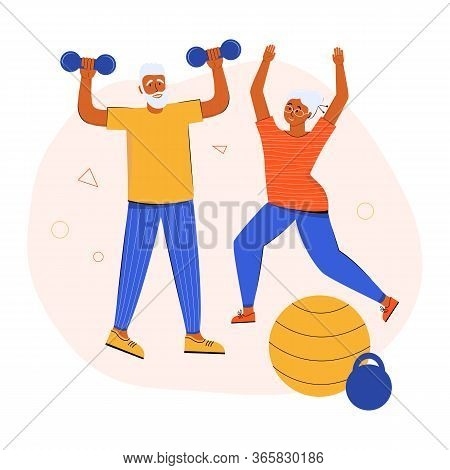 An Active Elderly Couple Doing Sports Together At Home. Grandparents Lead A Healthy Lifestyle. Activ
