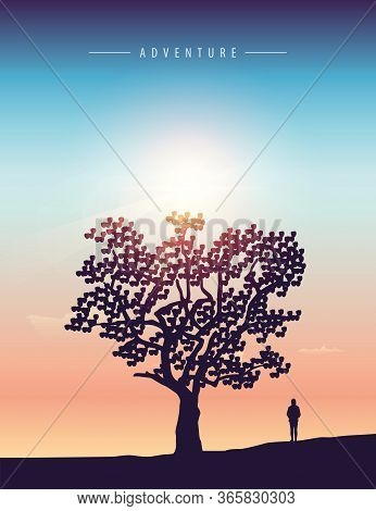 Lonely Girl Stands Under A Big Tree At Sunset Vector Illustration Eps10