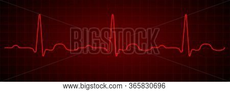 Heartbeat Line. Red Electrocardiogram. Medical Cardiogram On Grid Background.