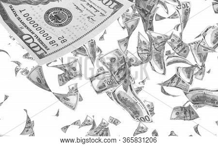 Flying Dollars Banknotes Isolated On White Background. Money Is Flying In The Air. 100 Us Banknotes