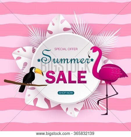Summer sale banner with paper cut flamingo and summer tropical leaves summer background, summer exotic floral design for banner, summer flyer, invitation, summer poster, web site or greeting card. Paper cut summer style, vector summer illustration.