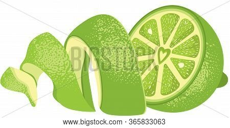 Scalable Vectorial Representing A Fresh Peeled Green Lemon Halves, Element For Design, Illustration