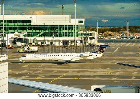 Germany, Munich - Circa 2020: Lufthansa Regional Airline Airplane Getting Ready For Take Off Or Land