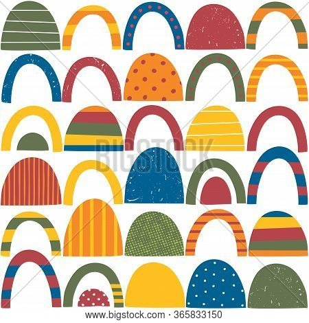 Colorful Red, Green, Blue, Yellow And Orange Abstract Shapes With Stripes, Dots And Distressed Patte