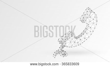 Telephone Handset. Contact, Telecommunication Symbol. Low Poly, Wireframe 3d Vector Illustration. Ab