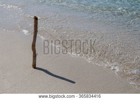 Smooth Sand With A Bough And Its Shadow. Line Of The Tide. Calm And Clean Water Of Mediterranean Sea