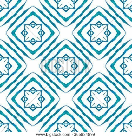 Hand Painted Tiled Watercolor Border. Blue Classic Boho Chic Summer Design. Tiled  Watercolor Backgr