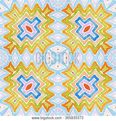 Colorful Geometric Watercolor. Dazzling Seamless Pattern. Hand Drawn Stripes. Brush Texture. Cute Ch