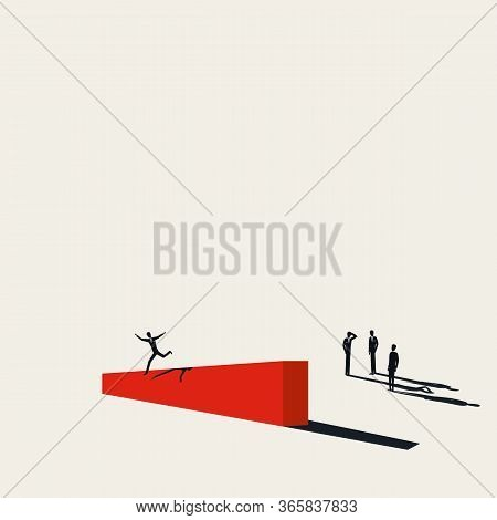Overcome Challenge And Obstacle Business Vector Concept. Successful Businessman Jumps Over Barrier.