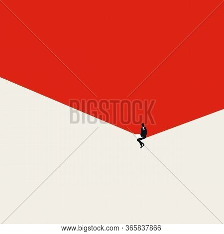 Content Creator Or Businessman Working On Laptop From Home Vector Concept. Symbol Of Freeleancing, E